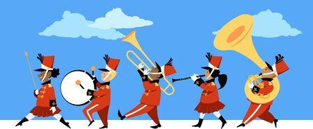 Niños lindos tocando instrumentos en un desfile de bandas de música, ilustración vectorial