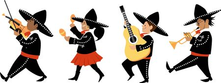 Cute kids in mariachi outfits playing traditional instruments, Vector illustration