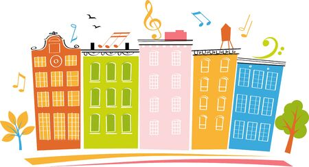 Banner for a block or neighborhood party with multi colored houses, Vector illustration