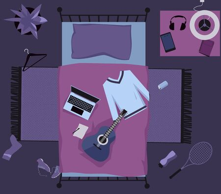 Interior of a young  bedroom with objects representing modern urban lifestyle, view from top,   vector illustration