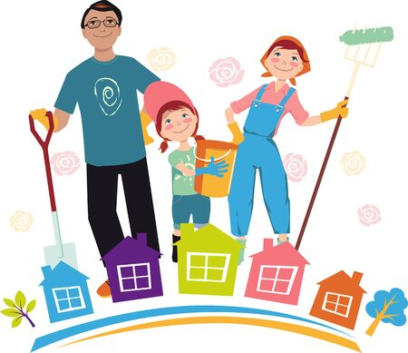Family participating in a community clean-up event,   vector illustration Illusztráció