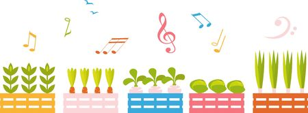 Vector graphic illustration of vegetable growing in beds with musical  over them