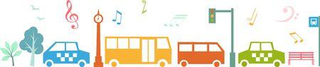 Public transportation in  city,  vector illustration