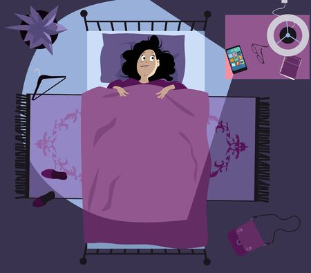 Insomniac  laying in bed late at night destructed by her smart-phone,   vector illustration