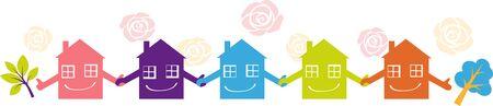 Piccole case che si tengono per mano che rappresentano un programma di sorveglianza di quartiere, illustrazione vettoriale EPS 8 Vettoriali