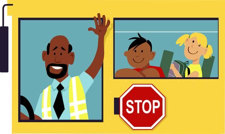 School bus driver waving his hand from a window, school kids sitting behind him, EPS 8 vector illustration