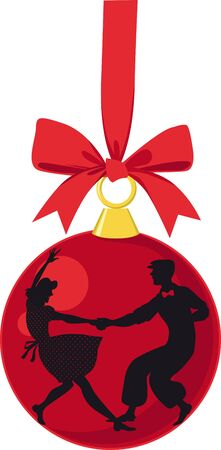 Christmas ornaments with silhouette of a couple dancing Lindy Hop, EPS 8 vector illustration