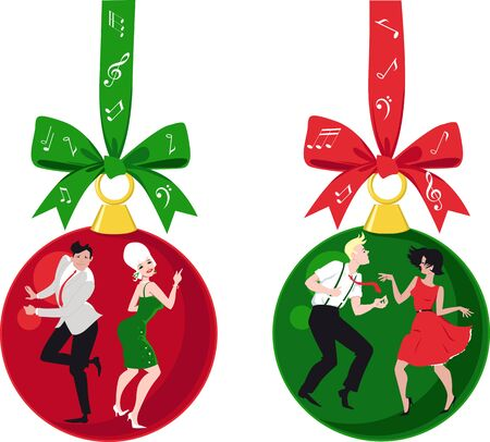 Christmas ornaments with couples dressed in vintage outfits dancing the Twist, EPS 8 vector illustration