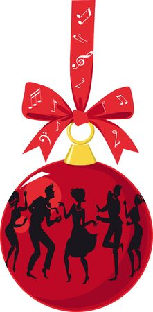 Christmas ornaments with group of people dressed in 1950s fashion dancing the Twist, EPS 8 vector illustration