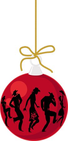 Realistic Christmas decoration with a silhouette of a group of people dancing country western, EPS 8 vector illustration Stock Illustratie