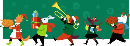 Cute group of cartoon animals in fun outfits celebrates Christmas with turkey, gifts and music, EPS 8 vector illustration Illustration