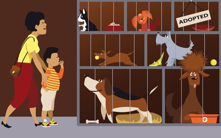 Mother bringing her son to an animal shelter to adopt a dog, EPS 8 vector illustration