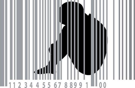 Explored child behind bars made of a barcode, as a symbol for human trafficking,  vector illustration Çizim