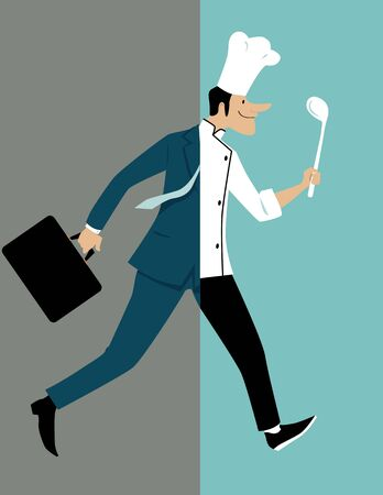 Man undergoing a drastic career change from a business person to a chef, vector illustration Illustration