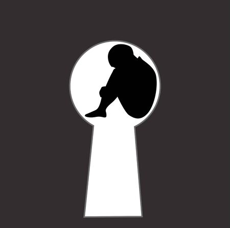 Silhouette of an abused child in a key hole, vector illustration