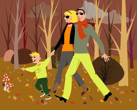 Modern couple walking with their son in the forest in fall, vector illustration