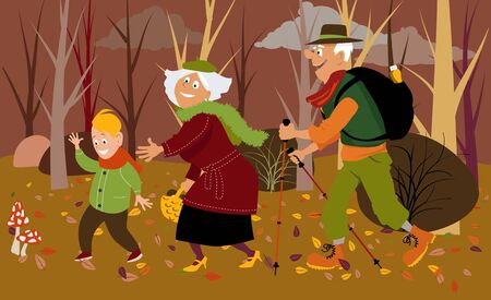 Senior couple with their grandson in the forest in fall mushroom picking, vector illustration