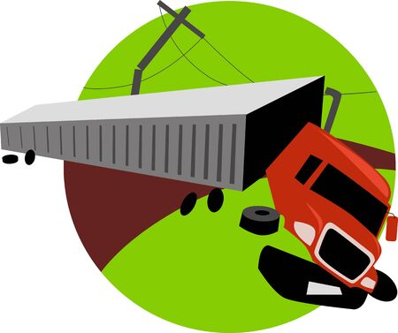 Crashed semi-trailer truck on the road, vector illustration