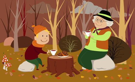 Senior woman having a picnic drinking tes in the forest in fall with her grandson, vector illustration