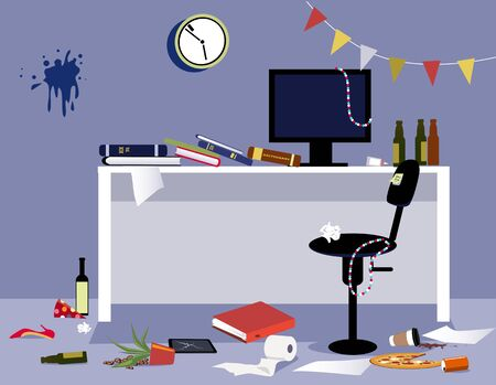 Interior of a messy office after a wild office party, vector illustration
