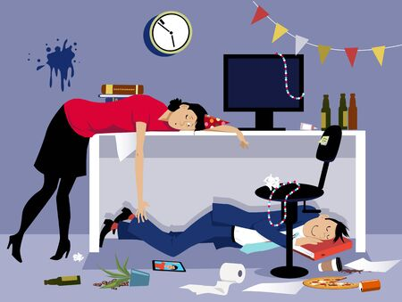 After a corporate event of party drunk business people sleeping in a messy office, vector illustration