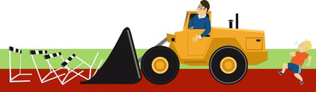 Bulldozer parent removing obstacles before his overprotected child, vector illustration