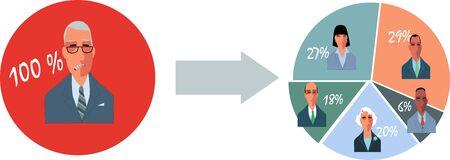 Délégation réussie en affaires, illustration vectorielle