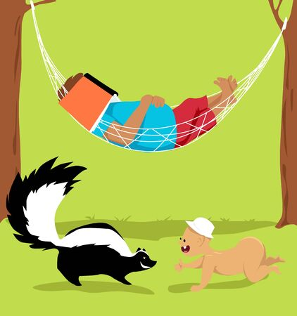 Man, practicing free-range parenting, sleeping in a hammock while his little child encounter a skunk, vector illustration