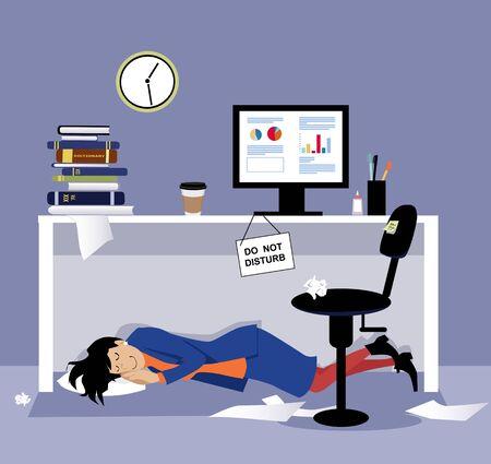 Woman sleeping under her office desk during working hours,  vector illustration Illustration
