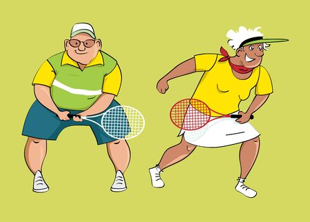 Couple of active seniors playing tennis, vector illustration