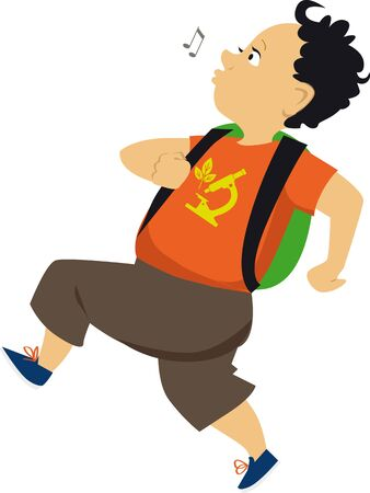 Cute cartoon little boy with a backpack running, skipping and whistling, vector illustration
