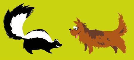 Fearless dog meeting a skunk, vector illustration