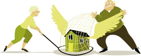 Senior couple caught a winged house in a butterfly net, vector illustration