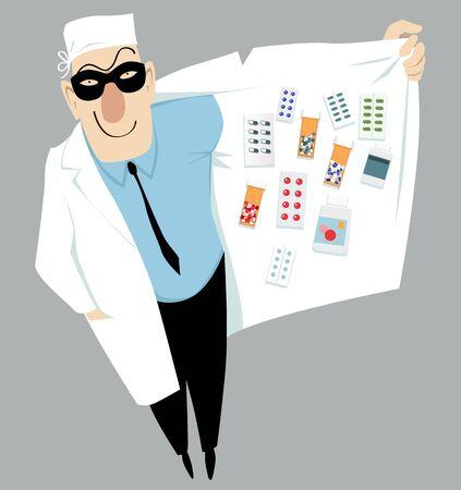 Doctor in a mask selling black market drugs, EPS 8 vector illustration Illustration