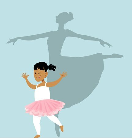Little girl doing a ballet routine, a shadow behind her showing her growing up a ballerina, vector illustration Illustration