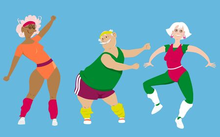 Group of active seniors doing an aerobic workout, EPS 8 vector illustration Illustration