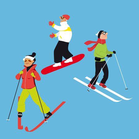 Active seniors skiing and snowboarding, EPS 8 vector illustration Ilustração