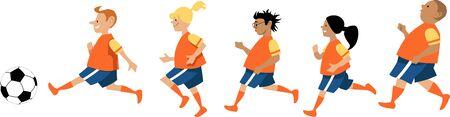 Peewee soccer team, little boys and girls, EPS 8 vector illustration Stock Illustratie