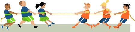 Kids playing tug of war, vector illustration