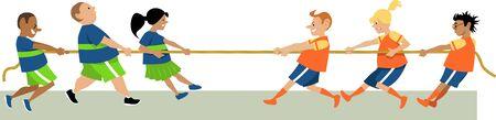 Kids playing tug of war, vector illustration