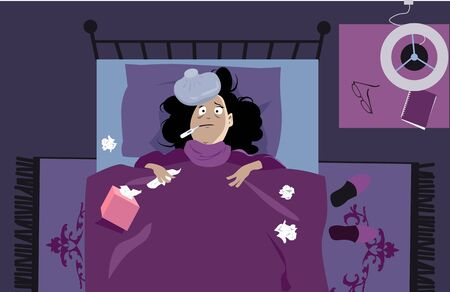 Sick woman laying in bed with a thermometer and tissues, having a fever, EPS 8 vector illustration Illustration