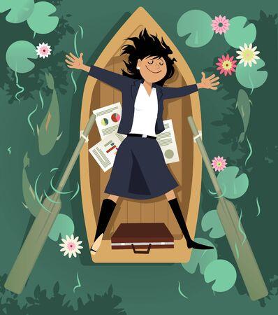 Zakenvrouw ontspannen in een roeiboot, een pauze nemen van het werk, EPS 8 vectorillustratie Vector Illustratie