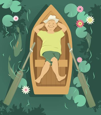 Senior man relaxing in a rowboat, drifting down a calm river,  EPS 8 vector illustration