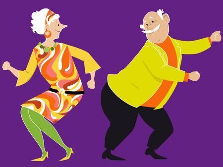 Senior couple dressed in vintage clothing, dancing the Twist, EPS 8 vector illustration
