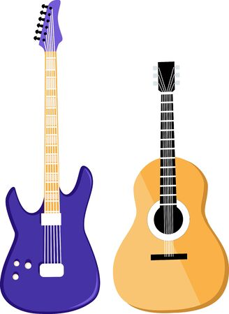 Realistic vector illustration of a acoustic and electric guitars, isolated, EPS 8 vector, no transparencies, no mesh Illustration