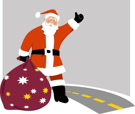 Santa Claus with a bag of gifts hailing a cab or hitchhike at the side of a highway, EPS 8 vector illustration