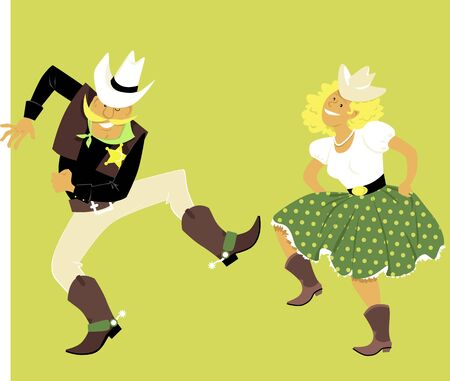 Cute couple in western outfits dancing, vector illustration Banque d'images - 131979309