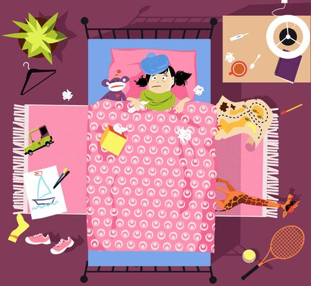 Little girl sick with cold or flu lying in bed in her room, view from top, EPS 8 vector illustration