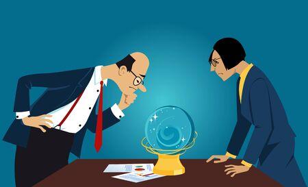 Gente de negocios mirando fijamente a una bola de cristal, buscando un pronóstico, ilustración vectorial EPS 8