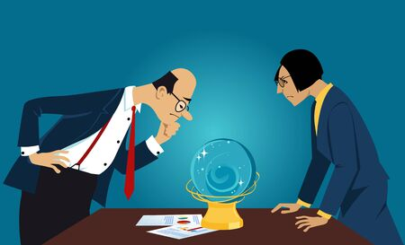 Business people staring into a crystal ball, looking for a forecast, EPS 8 vector illustration Illustration